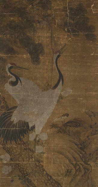 Peinture à l'encre et couleur sur soie et...