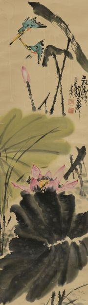 Peinture en rouleau à l'encre et couleur sur papier  Chine  À décor de lotus et...