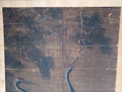 Peinture à l'encre et couleur sur soie et marouflée sur toile  Chine, XIXe-XXe siècle...