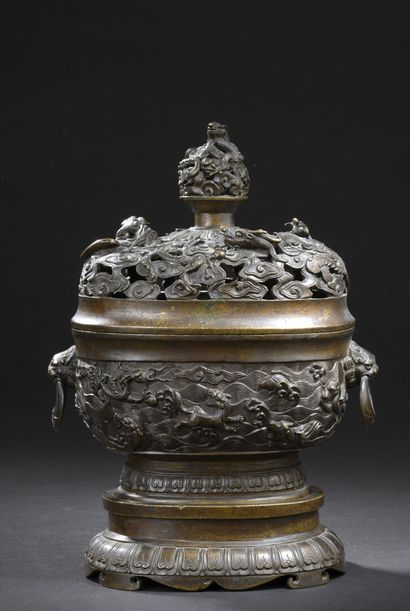 Brûle-parfum xianglu couvert en bronze et...