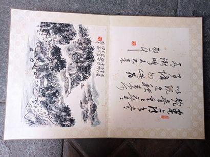 Album de peintures à l'encre sur papier  Chine  Composé de huit peintures représentant...