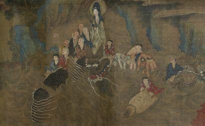 Peinture en rouleau à l'encre et couleur sur soie  Chine, fin du XIXe-début du XXe...