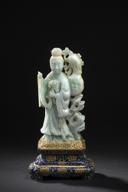 Groupe en jadéite sculptée  Chine, XXe siècle...