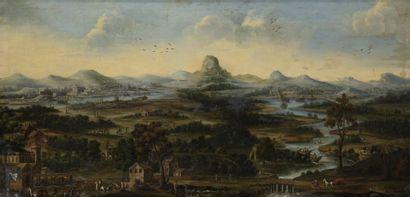 École FLAMANDE vers 1700  Paysage panoramique...