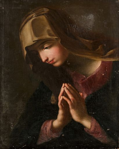 ITALIAN SCHOOL circa 1700  Virgin in prayer  Original canvas.  Missing.  61,5 x...
