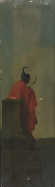 19th century FRENCH school  Oriental characters for a theater set  Pair of paintings....