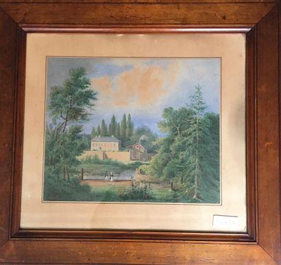 Jenny de la GENETIÈRE, école FRANÇAISE vers 1830  Vue du château de Pouy-sur-Vannes...