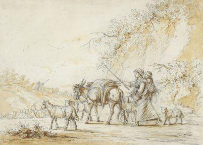 École FRANÇAISE de la fin du XVIIIe siècle  Jeune mère et son enfant avec âne et...