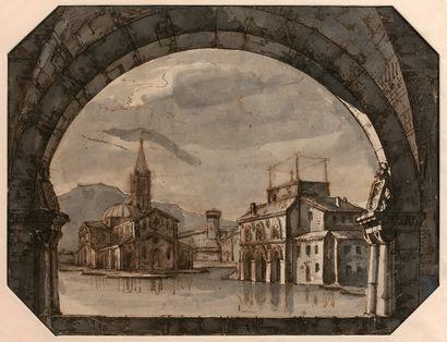 Attributed to Pietro GONZAGA (Longarone 1751 - St Petersburg 1831)  Architectural...