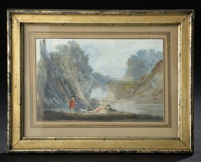In the taste of MONGIN, 19th century.  Characters in landscapes.  Two gouaches....