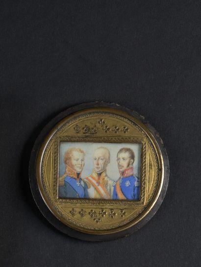 EUROPEAN SCHOOL circa 1815  The Holy Alliance  Rectangular miniature representing...