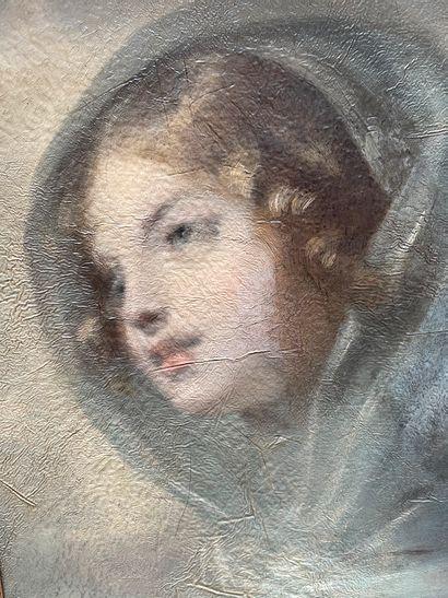 Attribué à Pierre Paul PRUD'HON (1758-1823)  Etude de tête de femme  Toile.  40...
