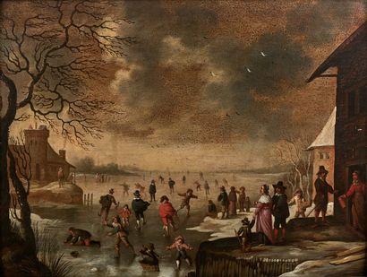 Flemish school of the 17th century  The joys of winter  Panel.  Missing.  48 x 63...