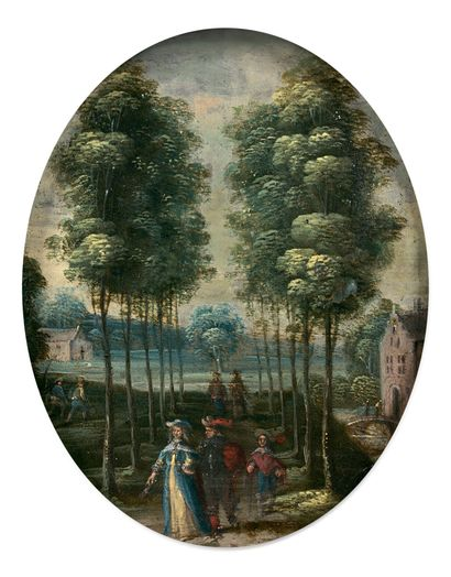 Ecole FLAMANDE vers 1660 Promeneurs dans un paysage Promeneurs sur un pont Paire...