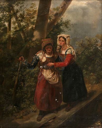 Hortense HAUDEBOURG LESCOT (Paris 1784-1845)  The good girl  Canvas mounted on panel....