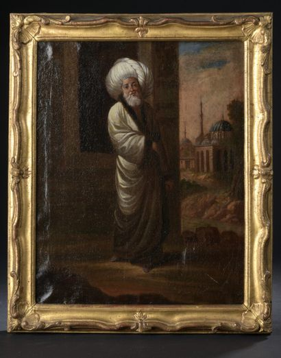 Jean-Baptiste van MOUR (1671-1737)  Un pacha  Une sultane  Paire de toiles.  37...