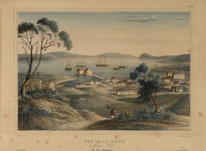 Vues de Hobart-Town (Tasmanie)  Deux lithographies encadrées.  29 x 40 cm