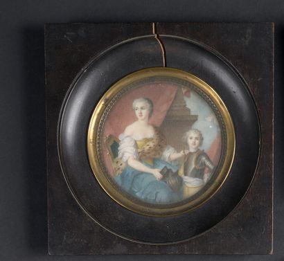 Miniature ronde d'époque Louis XV représentant...