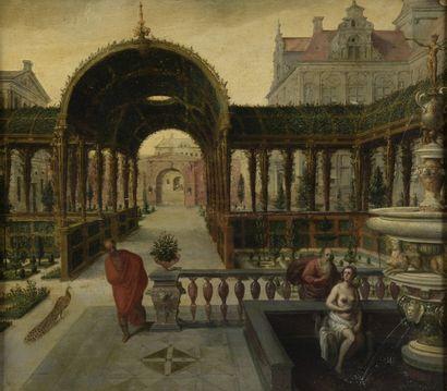 Attribué à Hans VREDEMAN de VRIES (1527 - vers 1606)  Suzanne et les vieillards...