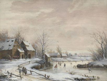 École du NORD du XVIIIe siècle  Patineurs sur la rivière gelée  Petite gouache....