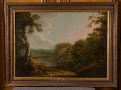 Attribué à Richard WILSON (1714-1782)  Promeneurs et pêcheurs près d'une chute d'eau...