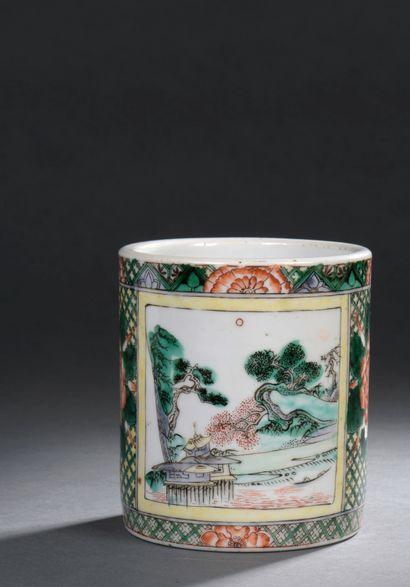 CHINE, XIXe siècle  Porte-pinceaux cylindrique...