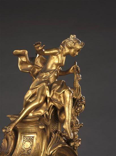 Importante pendule d'époque Louis XV provenant du palais Colonna à Rome  en bronze...