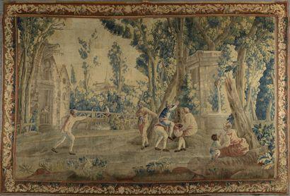 AUBUSSON, XVIIIe siècle  Tapisserie représentant des jeux d'enfants.  Restaurations...