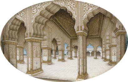 École INDIENNE de la 2nde moitié du XIXe s.  Vue de l'interieur du Diwan-i-Khas...