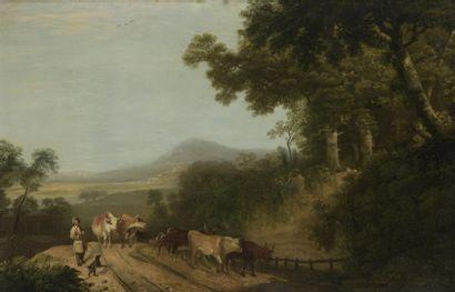 École ANGLAISE vers 1800  La rentrée du troupeau...