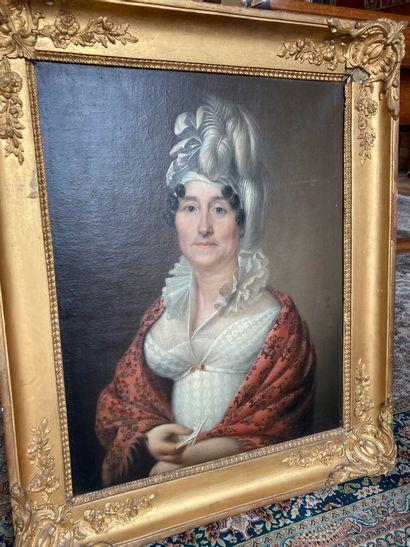 École FRANÇAISE du XIXe siècle.  Portrait en buste de la baronne Angellier  Toile....