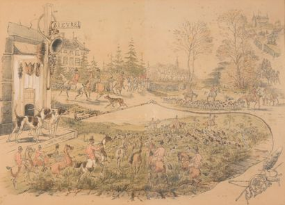 Royal Ardennes, Bièvre  Gravure aquarellée...