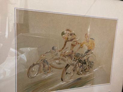 École MODERNE  Motocross, 1948  Lithographie...