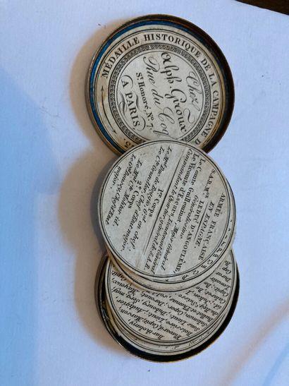 Médaille-boîte historique de la campagne d'Espagne de 1823  En cuivre repoussé représentant...