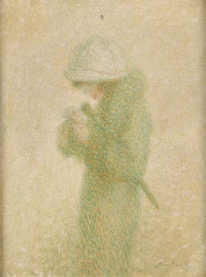 Lucien BOULIER (1882-1963)  Femme au chapeau...