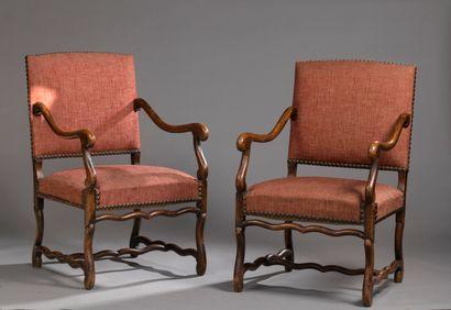 Paire de fauteuils en bois naturel, style...