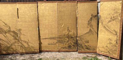 Paravent japonais, XIXe siècle  À six feuilles...