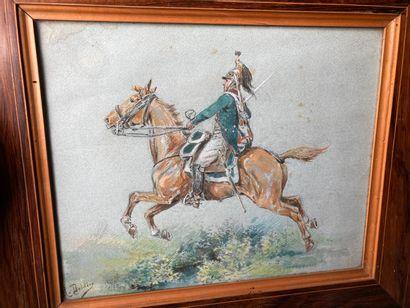 H. DOLDIER  Dragon à cheval  Aquarelle signée...