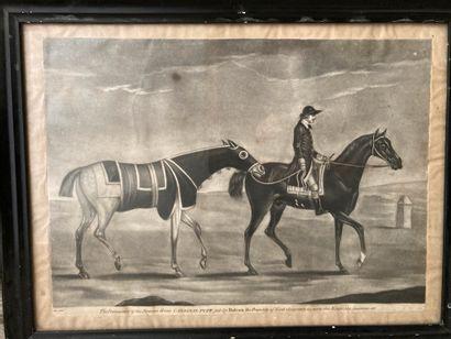 École ANGLAISE, XVIIIe siècle  Deux chevaux...