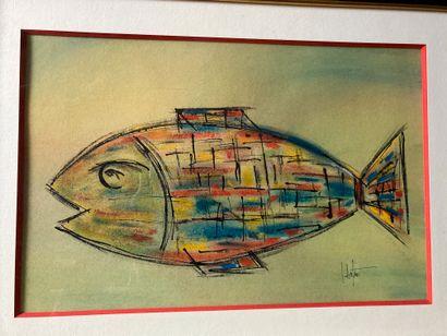 Jacques DUTHOO (né en 1964)  Poisson  Aquarelle...
