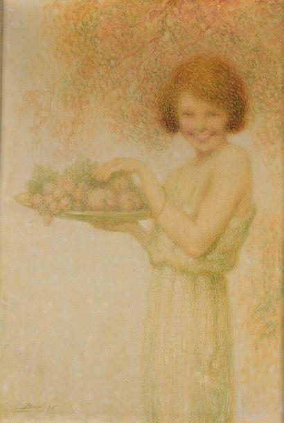Lucien BOULIER (1882-1963)  Jeune femme à...
