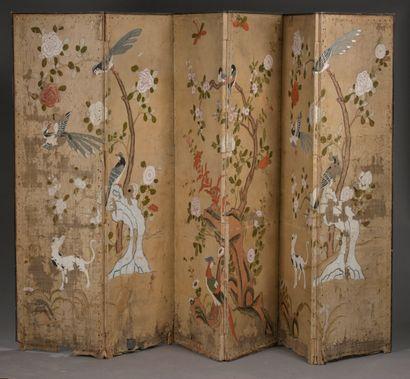 Paravent chinois, XVIIIe siècle  À six feuilles,...