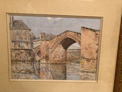 Henri MOUREN (1844-1926)  Pont sur une rivière...