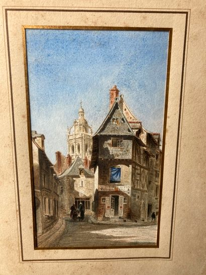 École FRANÇAISE du XIXe siècle  Probablement la tour saint Antoine à Loches, vue...