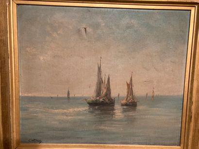 Henri CATROU  Bateaux de pêcheurs sur une...
