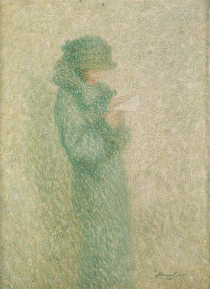 Lucien BOULIER (1882-1963).  Femme lisant...