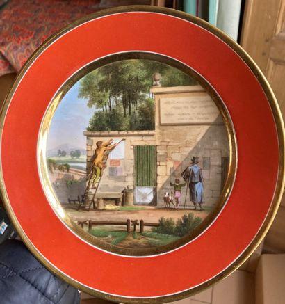 PARIS (?), XIXe siècle  Assiette en porcelaine...