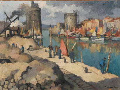 Gaston BALANDE (1880-1971)  Vue du port de...