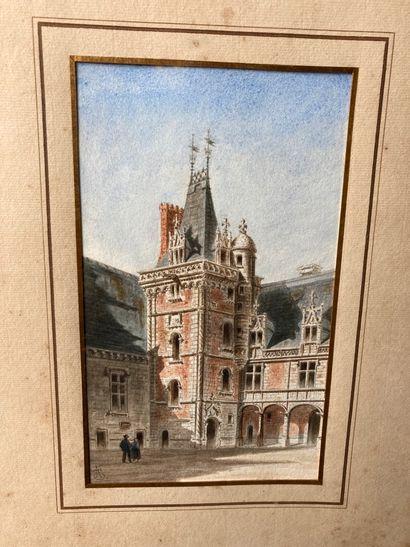 École FRANÇAISE du XIXe siècle  Cour d'un château  Aquarelle monogrammée SA.  21,8...