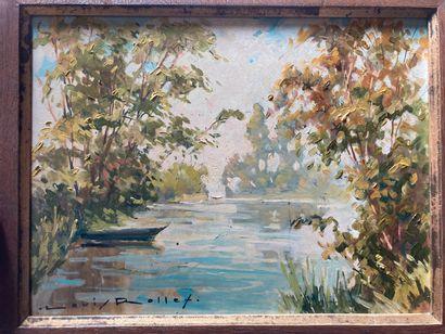 Louis ROLLET (1895-1988).  Bord d'un fleuve...